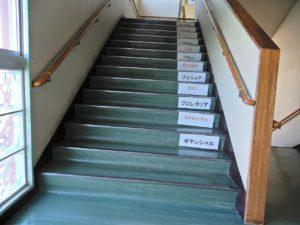 中学生の教室に向かう階段で・・・